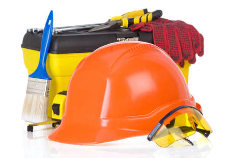 tools and construction toolbox isolated on white background photo