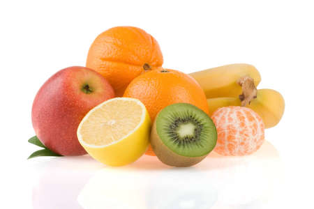 fresh fruits and slices isolated on white background photo