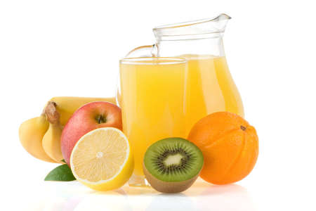 fresh fruits juice in glass and slices isolated on white background photo