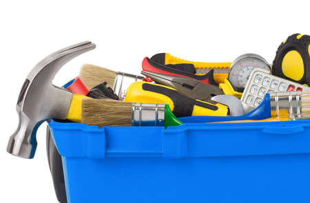 set of tools in construction toolbox isolated on white background photo