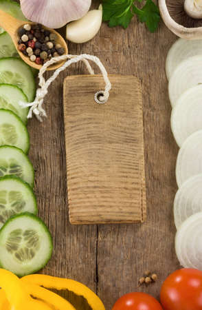 healthy vegetable food at wood background board photo