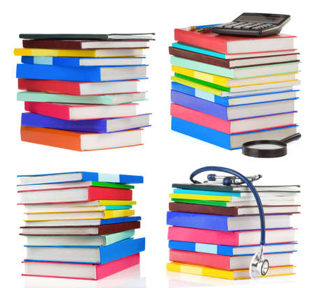 pile of books collage isolated on white background photo