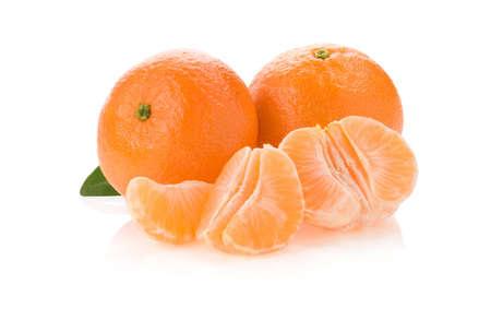 tangerine orange fruit and slices isolated on white background photo