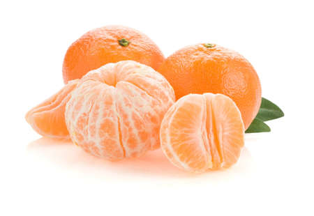 tangerine orange fruit and slices isolated on white background photo