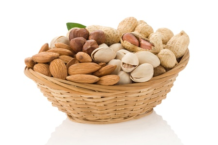 set of nuts in bowl isolated on white background Stock Photo - 12411068