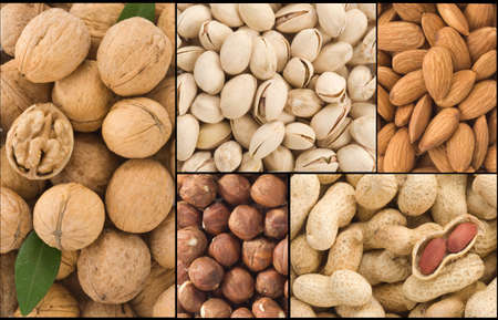 set of nuts collage background photo