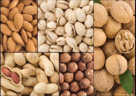 set of nuts fruit collage background photo