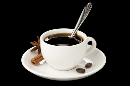cup of coffee with beans isolated on black background photo