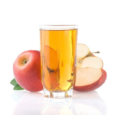 apple juice in glass and slices isolated on white background photo