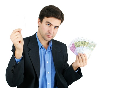 man with money and card Stock Photo - 12625252