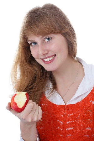 beautiful young girl with apple Stock Photo - 12625154