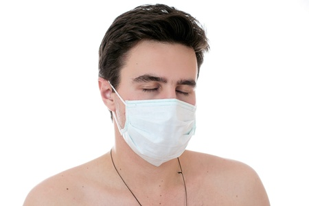 robustness: man and mask at white background