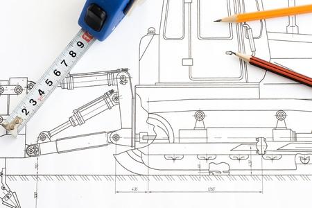cinta m�trica y un l�piz en el dibujo Foto de archivo - 12625225