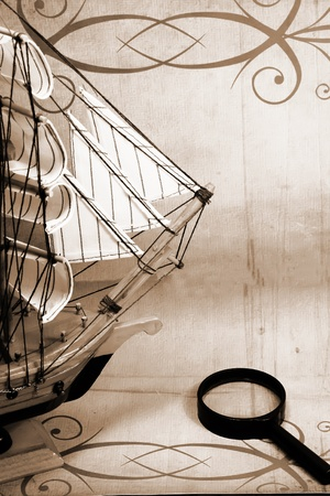 vintage old ship and reading glass photo