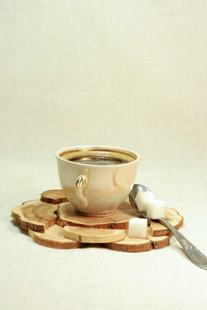 coffee, cup and sugar with spoon photo