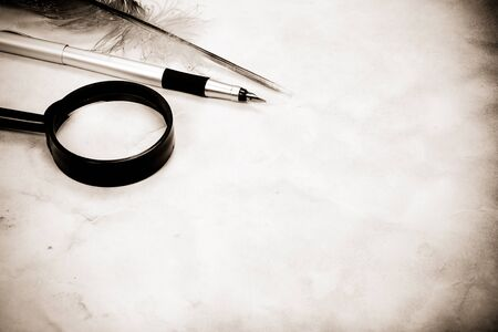 vintage image of old pen and feather photo