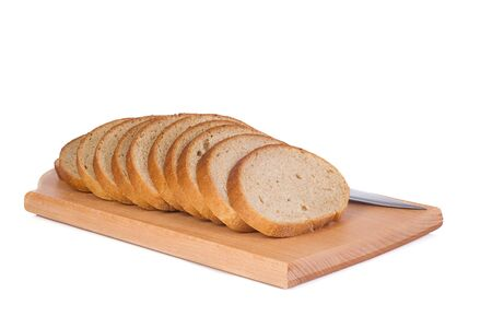 steel knife and bread at board photo