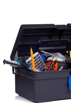 isolated toolbox on white background photo