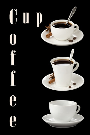 cup of coffee collage with beans isolated on black background photo