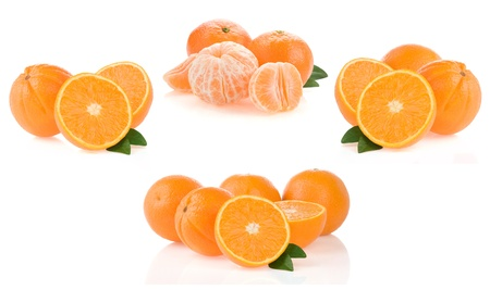 orange fruit and slices collage isolated on white background photo