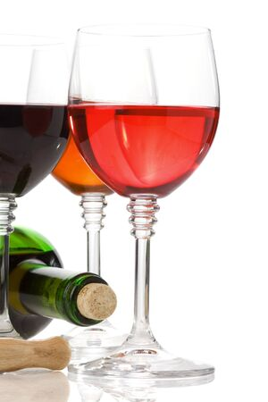 wine in glass and bottle isolated on white background Stock Photo - 13005366