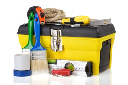 construction toolbox and tools isolated on white background photo