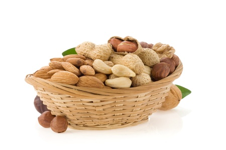 set of nuts isolated on white background photo
