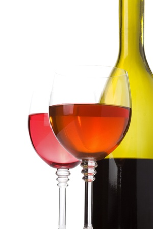wine in glass isolated on white background photo