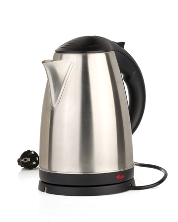 stainless electric kettle isolated on white photo
