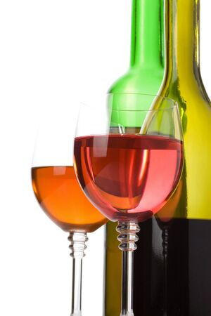 wine in glass and bottle isolated on white background photo