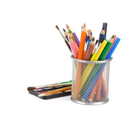holder basket with pencils and paint isolated on white background Stock Photo - 13421354