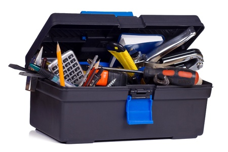 screwdriwer: kit of tools in black box Stock Photo