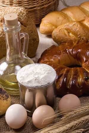 set of bakery products on bagging photo