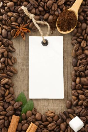 coffee powder and beans as background texture Stock Photo