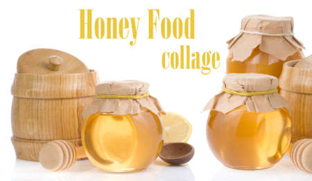 honey jar and pot isolated on white background photo