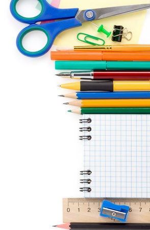 back to school supplies isolated on white background photo