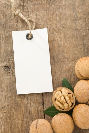 walnuts fruit on wood background texture photo