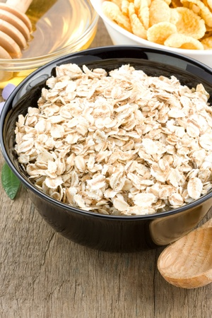cereals oat flake and healthy food photo