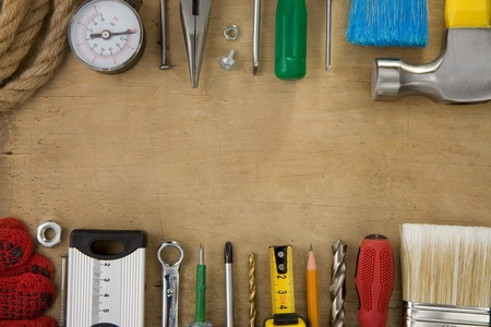 set of tools and instruments on wood texture background Stock Photo - 13585886