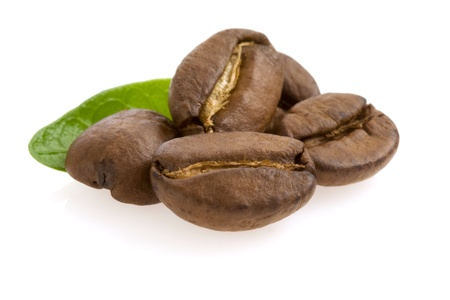 coffee beans isolated on white photo