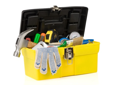 set of tools on toolbox isolated at white background photo