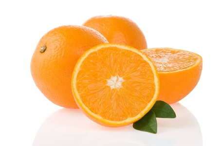 orange fruit and slices isolated on white background photo