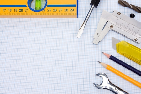 tools and instrument, pencil on graph grid paper photo