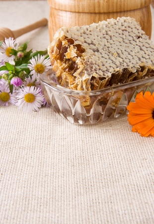 honey, honeycomb in pot, stick and flowers on sacking photo