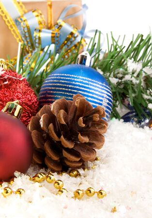 christmas ornament, snow and fir tree isolated on white background Stock Photo - 13793997
