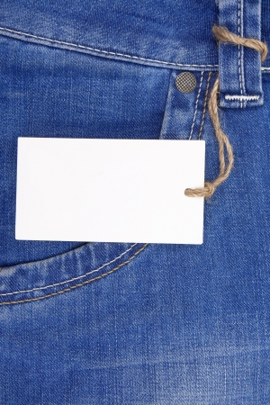 price tag over blue jeans textured pocket photo