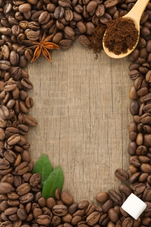 coffee powder and beans as background texture Stock Photo - 13897357