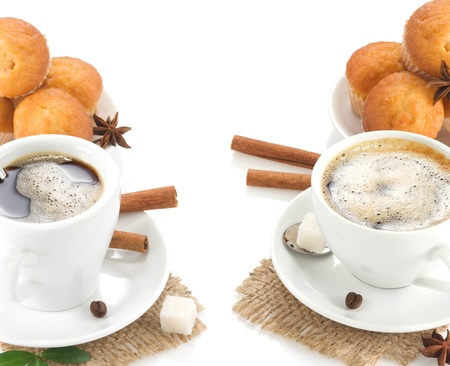 cup of coffee with sweets and beans isolated on white background photo