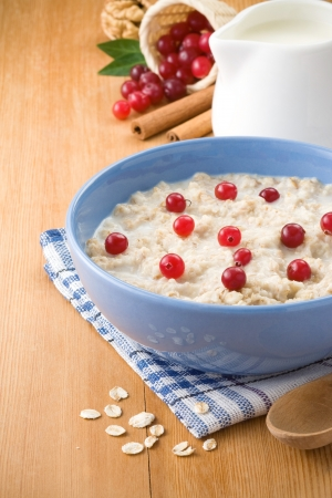 bowl of oatmeal and milk on wood background Stock Photo - 13897160