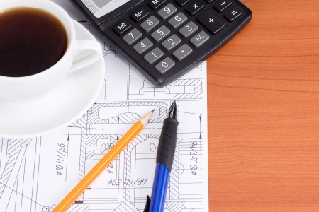 cup of coffee and drafting Stock Photo - 13924280